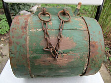 ANTIQUE PRIMITIVE OLD WOODEN VESSEL CANTEEN KEG BARREL - IRON BANDED GREEN PAINT