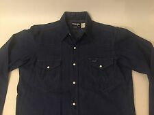 NEW OLD STOCK WRANGLER JEANS WESTERN COWBOY SNAP UP DENIM JEAN SHIRT Sz 15.5 34