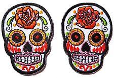 Lot de deux Petits écussons patch tête de mort Mexicaine Calavera tattoo - Blanc