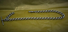 "superb Victorian Henry Bourne sterling silver fob watch chain 13"" marked links"