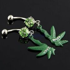 Pair Best Buds 2-Half Marijuana Leaf Dangle Dark Green Belly Navel Ring JW479 TW