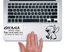 Stitch Ohana Means Family Disney - Trackpad Macbook Laptop Vinyl Sticker Decal