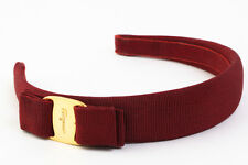 Authentic Salvatore Ferragamo Vara Headband Hair Accessories Bordeaux #3776