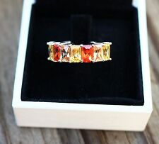 Size 7 white gold tone yellow citrine orange & silk CZs octagons  RING
