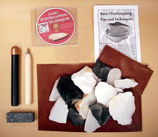 Deluxe Flint Knapping Kit - Copper Billet, Flaker, Pad, DVD, and Stone Included