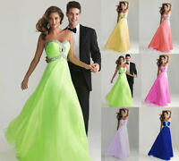 Sexy Long Chiffon Formal Evening Prom Party Ball Gown Bridesmaid Dress stock sz