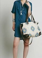 Free People Cabana Carpet Tote Weekender Bag tribal Leather Retails $198.00