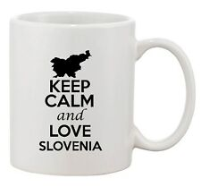 Keep Calm And Love Slovenia Country Map Patriotic Ceramic White Coffee Mug