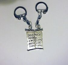 2pcs Matching Couples Key Chain Ring Set Love Letter Scroll Silver Tone Metal