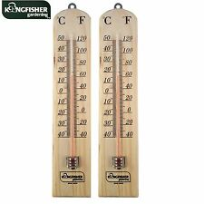 2x Wooden Wall Thermometer Indoor / Outdoor Small Lightweight Handy Size