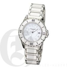 Charles Hubert Womens White Ceramic Watch Quartz Date 6755-W
