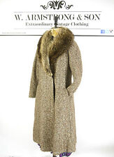 Women's Vintage 70's Brown Tweed WOOL REAL FOX FUR COLLAR Swing Coat Boho UK L