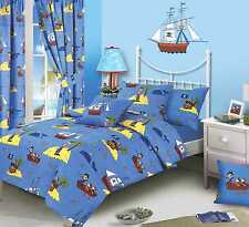 DOUBLE BED TREASURE ISLAND DUVET / QUILT COVER SET PIRATES WHALE BLUE SEA YELLOW