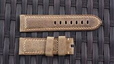 Light Brown Leather - Beige Stitches Strap  (Watch & Buckle NOT included)