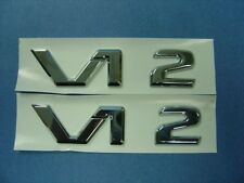TWO PCS OF CHROME V12 BADGE EMBLEMS MERCEDES BENZ S65 AMG CLK GTR BMW E38 750iL