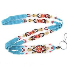 BLUE GOLDEN SEED BEADS TURTLE BEADED ID HOLDER LANYARD