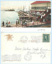 Yachting Pier Boats Atlantic City New Jersey 1906 IPC Postcard - Period Dress