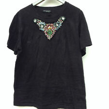 ZARA Black T-shirt with gems & diamonte - M - Trendy Party Top Colourful Gems