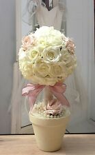 TOPIARY TREES IVORY PINK ROSES PEARLS TABLE CENTREPIECE WEDDING SHABBY CHIC