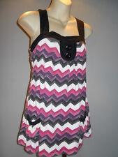 Chevron Stripe Tunic Top Mini Dress Mod Beach Cover Boho BabbyDoll Summer Blouse