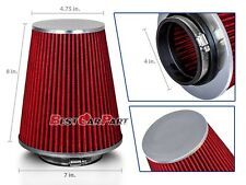 "4 Inches 102 mm Cold Air Intake Cone Truck Long Filter 4"" NEW RED Fit Nissan"