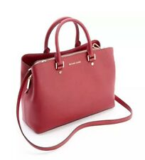 MICHEAL KORS Savannah Cherry Red Saffiano Leather Large Satchel Shopper NWT$368