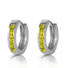 1 Carat 14K Solid White Gold Hoop Huggie Earrings Peridot