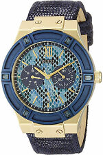 New GUESS W0289L3 Multi-function Blue Leather Band Women's Watch