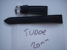 ORIGINAL  BALCK  TUDOR LEATHER  STRAP  BAND WITH ROLEX  BUCKLE NEW 20 MM