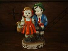 Vintage German Boy and Girl w Flower Basket Porcelain Figurine Hand Painted