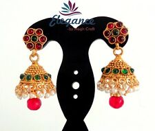 ONE GRAM GOLD JHUMKA EARRINGS-SOUTH INDIAN PEARL BRIDAL JHUMKA EARRINGS