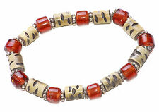 DARK AMBER GLASS, BEIGE CHIPPED WOOD & FLORAL SILVER METAL BEAD BRACELET (ZX48)