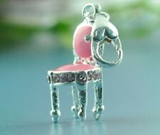 LOVELY PINK & SILVER CHAIR WITH PINK RHINESTONES CLIP ON CHARM FOR BRACELETS-NEW
