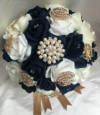 Bridal Posy Bouquet  Navy Blue and Ivory Roses  with Gold Brooches