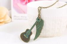 Vintage Guitar Wings Feather Pendant Necklace Charm Plated Sweater Chain NEW