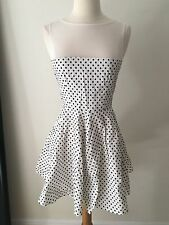 Vintage Babydoll Black and White Polka Dot Cotton Lace Dress Mini S