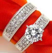 Real 14K Solid Gold Bridal set round brilliant cut Engagement Ring Wedding band