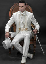 2016 New Groom Suit White Wedding Suit Bridegroom Gold lace embroidery Suits