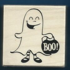 GHOST COSTUME Halloween BOO! Trick Treat NEW wood mount Craft Smart RUBBER STAMP