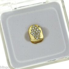 Diamond-Shape Grillz Cap 14k Gold Plated Iced-Out Single Bling Tooth Grill Slug