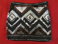 WOMENS H&M SEQUINS BEADS SPARKLE BLACK MULTI COLOR MINI SKIRT SIZE 8 US/ 38 EUR