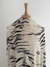 Stretch Ivory Beige Black Abstract Wood Grain Print Dressmaking Jersey Fabric