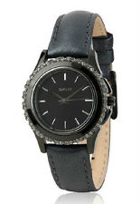 DKNY Brooklyn  Black Leather Crystal Chronograph  Watch NY8704 NWT + BOX