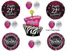 21ST ZEBRA HAPPY BIRTHDAY PARTY BALLOONS Decorations Supplies Cake Pink