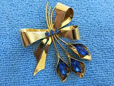 Sterling Coro Craft Ribbon Flower Brooch with Blue Rhinestones with Gold Vermeil