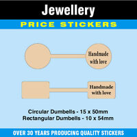 Jewellery Price Labels / Stickers / Dumbells 'Handmade With Love'