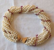 VINTAGE 18CT GOLD RUBIES MULTI-STRAND CULTURED PEARL NECKLACE
