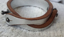 Diesel leather metallic silver bracelet cuff