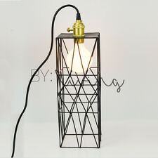 Vintage industrial retro long black metal cage hanging table lamp cafe