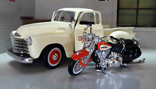 G 1:24 Scale Maisto 1950 Chevy 3100 FLSTS Springer Harley Davison Model Truck